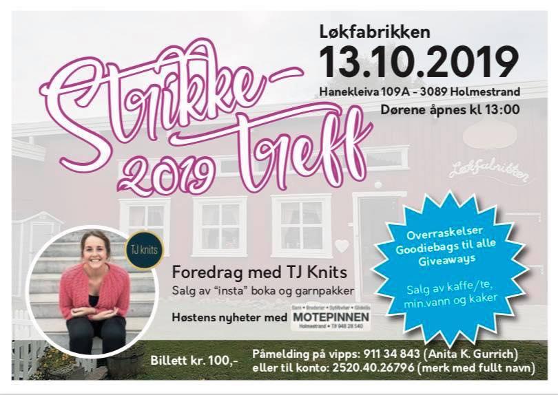 Plakat for Strikketrff 2019 på Løkfabrikken, Bakke Gård.